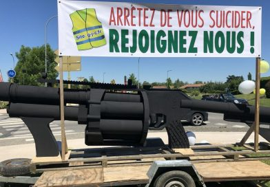 Haute-Garonne : un LBD géant en carton installé par des gilets jaunes au rond-point de Carbonne